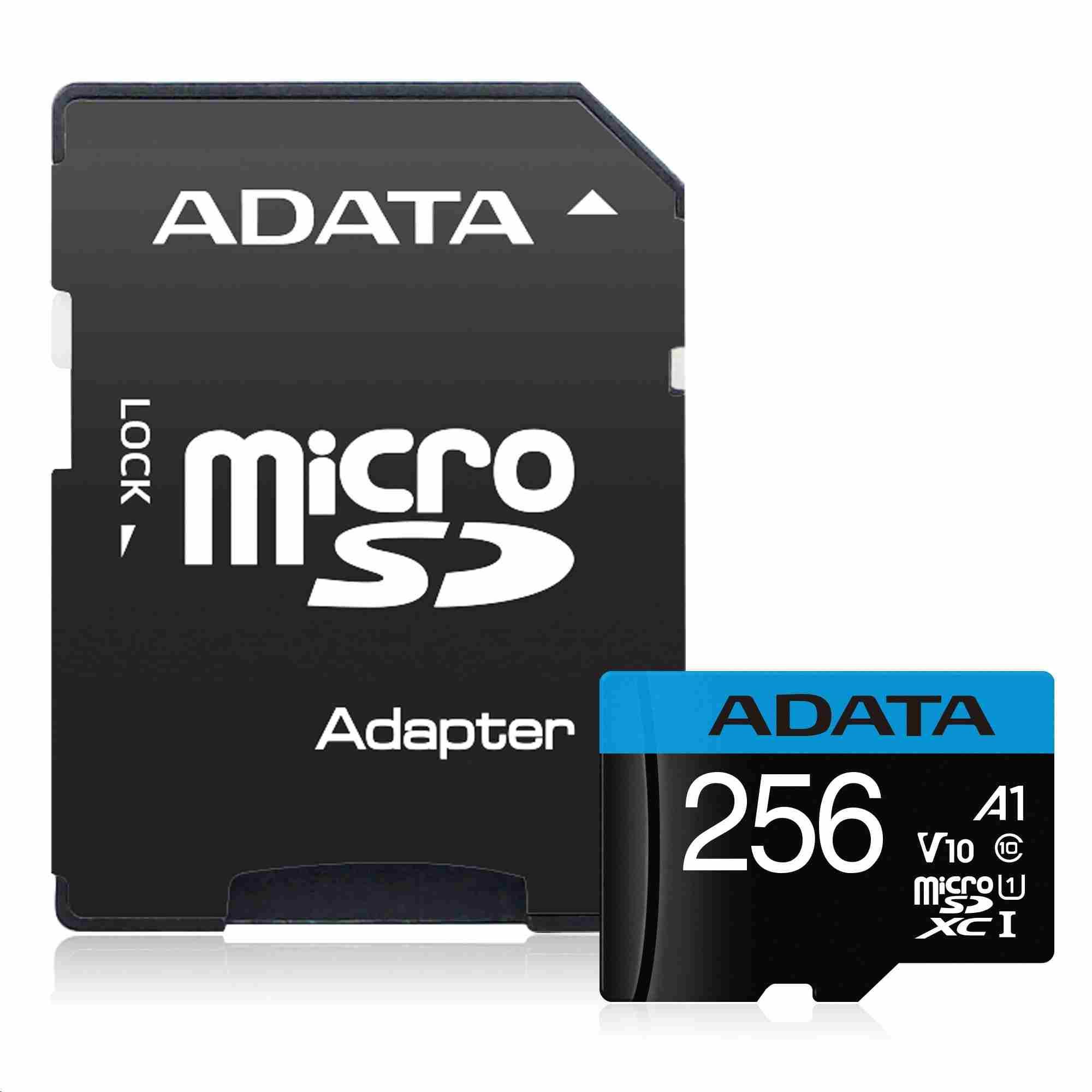 ADATA Micro SDXC karta 64GB UHS-I Class 10 + SD adaptér, Premier (AUSDX64GUICL10A1-RA1)