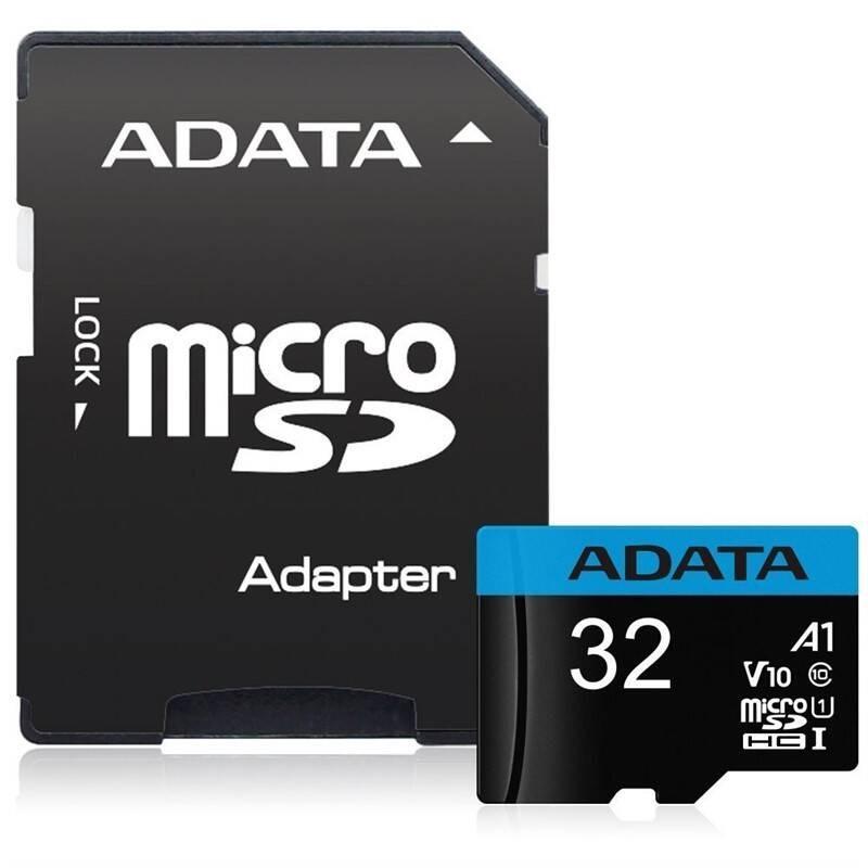 ADATA Micro SDHC karta 32GB UHS-I Class 10 + SD adaptér, Premier (AUSDH32GUICL10A1-RA1)