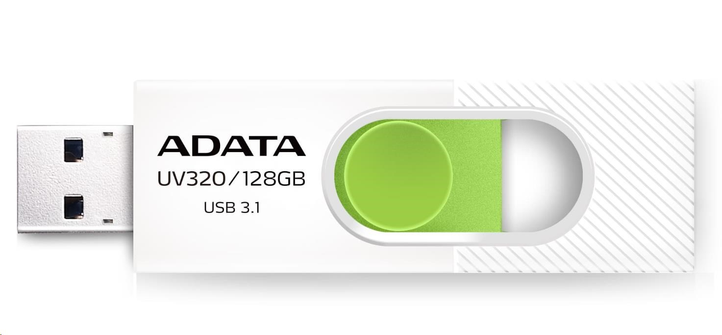 ADATA Flash Disk 64GB USB 3.1 Dash Drive UV320, White/Green (AUV320-64G-RWHGN)