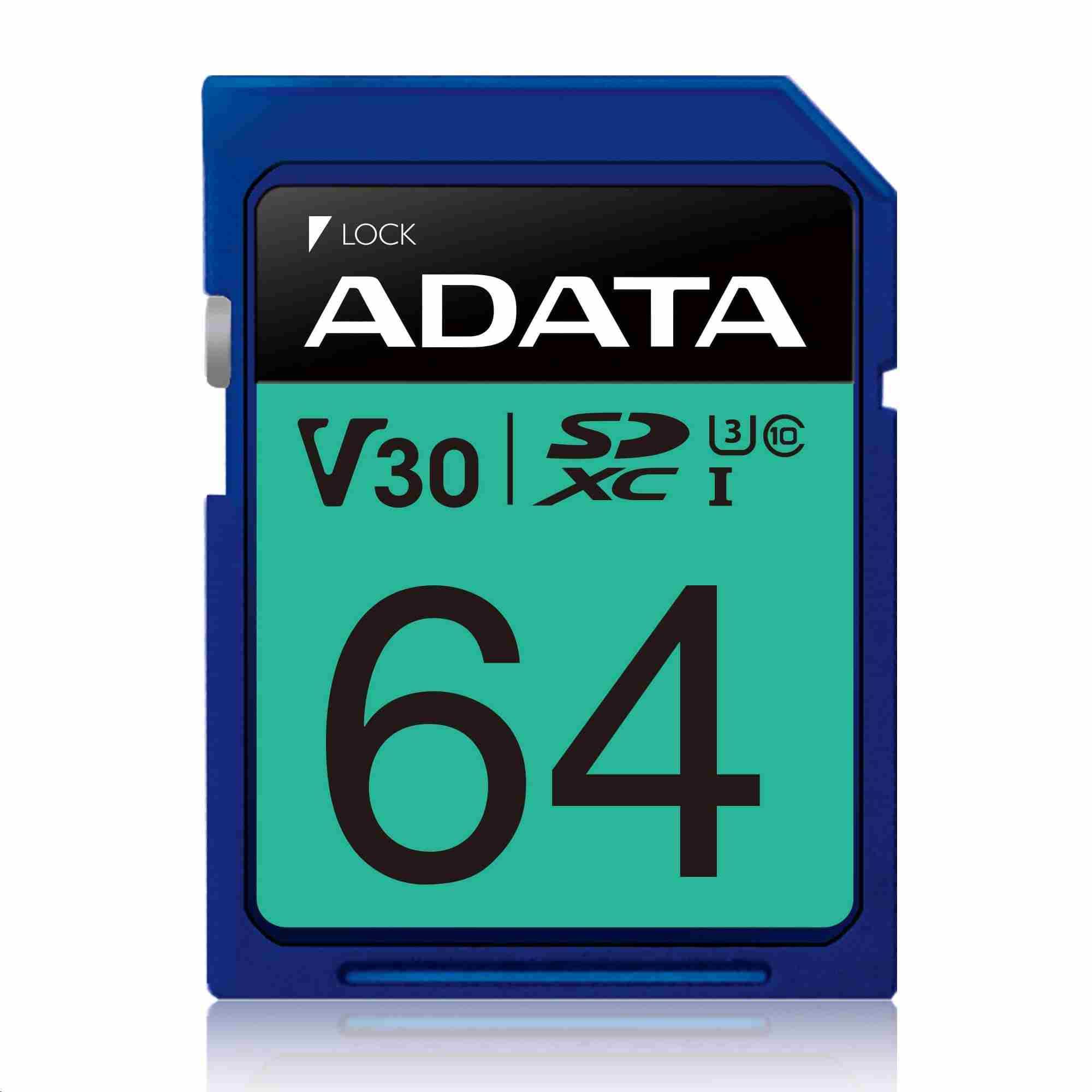 ADATA SDXC karta 64GB UHS-I U3 Class 10, Premier Pro (R: 95MB / W: 60MB)