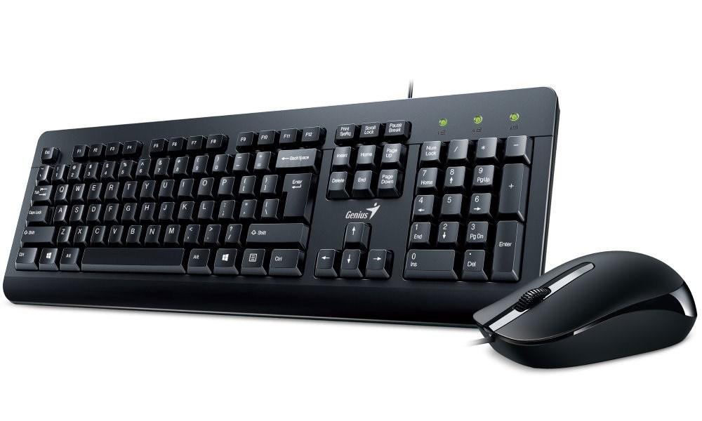 GENIUS klávesnice s myší KM-160/ Drátový set/ USB/ černý/ CZ+SK layout