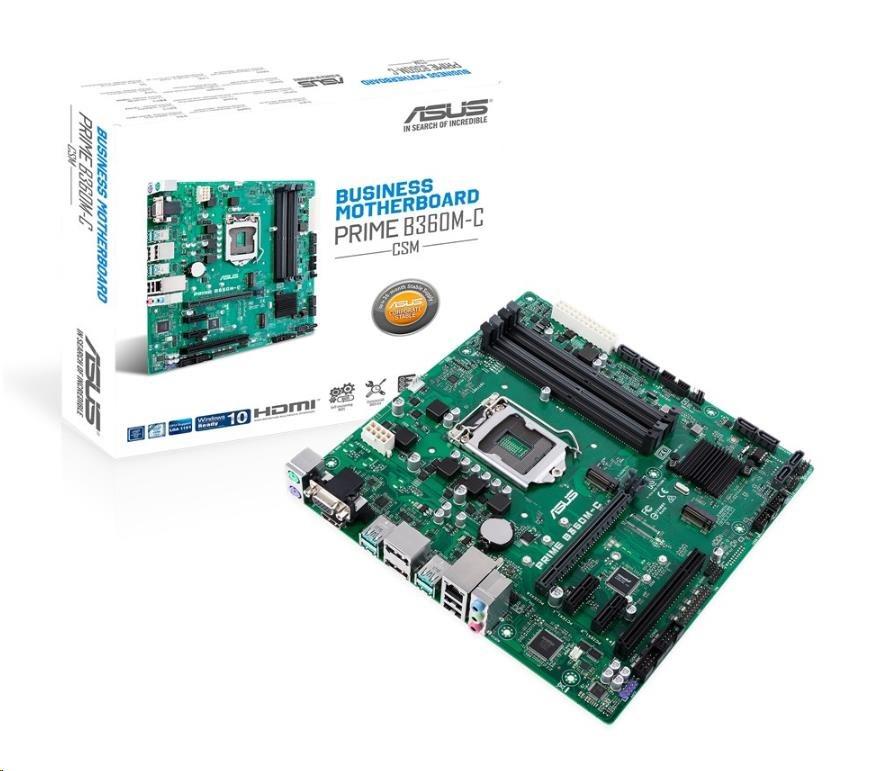 ASUS MB Sc LGA1151 PRIME B360M-C/CSM (SW + PUR RMA), Intel B360, 4xDDR4, VGA, mATX 90MB0W80-M0EAYC