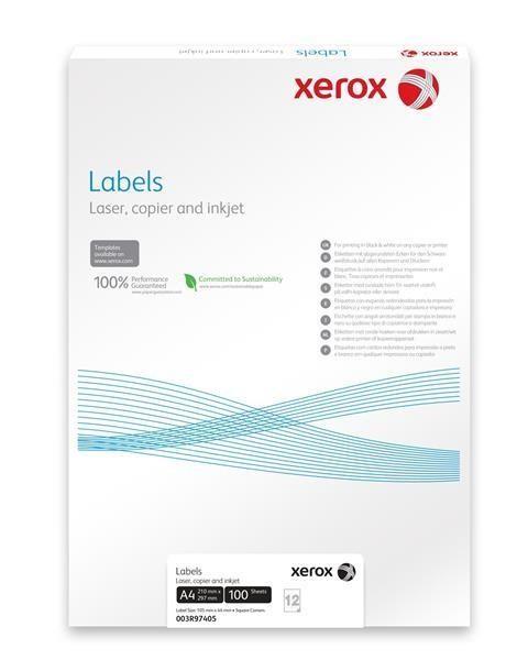 Xerox Papír bílé samolepící štítky, kulaté rohy - Labels 65UP 38,1x21,2 (g/100 listů, A4) (003R93177)