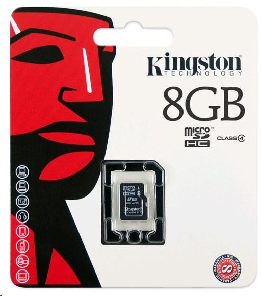 Kingston 8GB Micro SecureDigital (SDHC) Card, Class 4 - pouze karta (SDC4/8GBSP)
