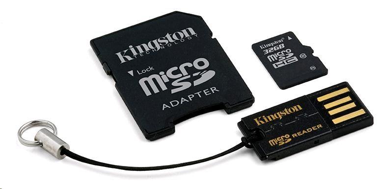 Kingston 32GB Multi Kit / Mobility Kit - MicroSDHC 32GB (Class 10) + čtečka + adaptér (MBLY10G2/32GB)