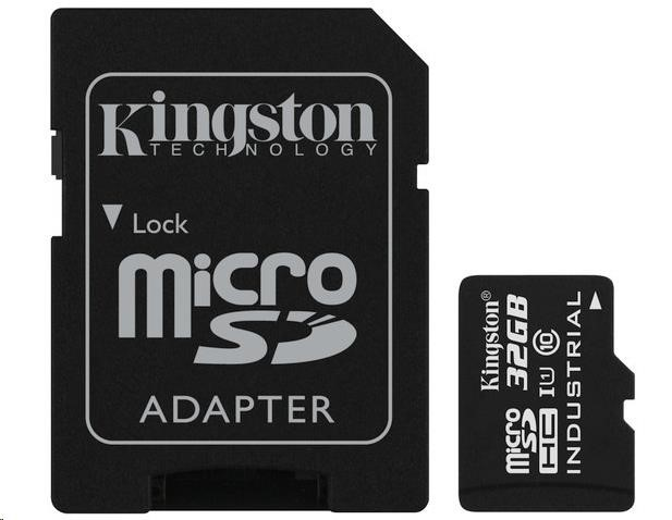 Kingston 32GB microSDHC UHS-I Class 10 Industrial Temp Card + SD Adapter (SDCIT/32GB)