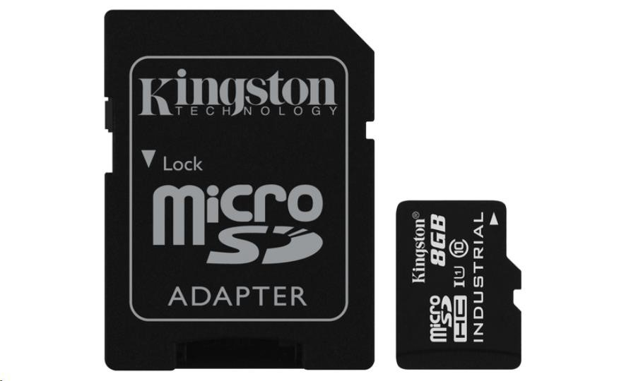 Kingston 8GB microSDHC UHS-I Class 10 Industrial Temp Card + SD Adapter (SDCIT/8GB)