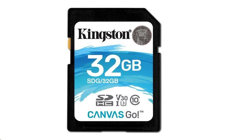 Kingston 32GB SecureDigital Canvas Go! (SDHC) Card, 90R 45W Class 10 UHS-I U3