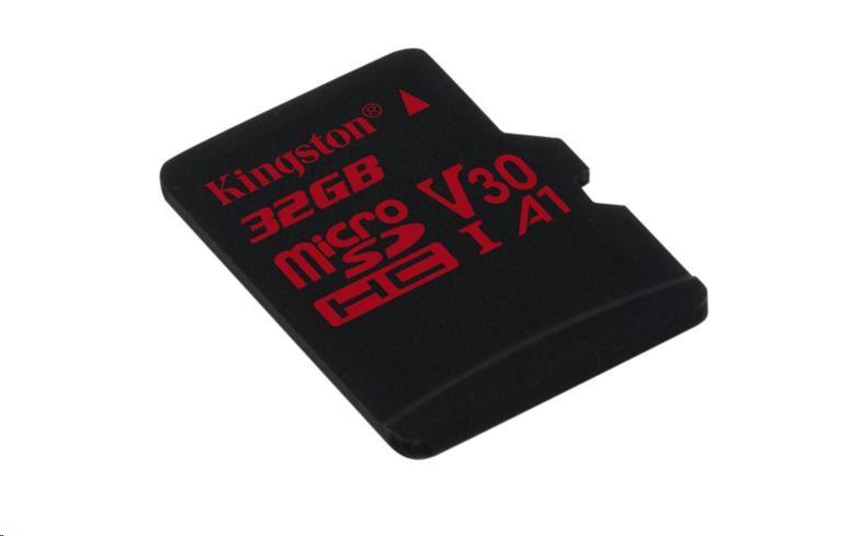 Kingston 32GB microSD HC Canvas React Card, 100R 70W UHS-I V30 A1