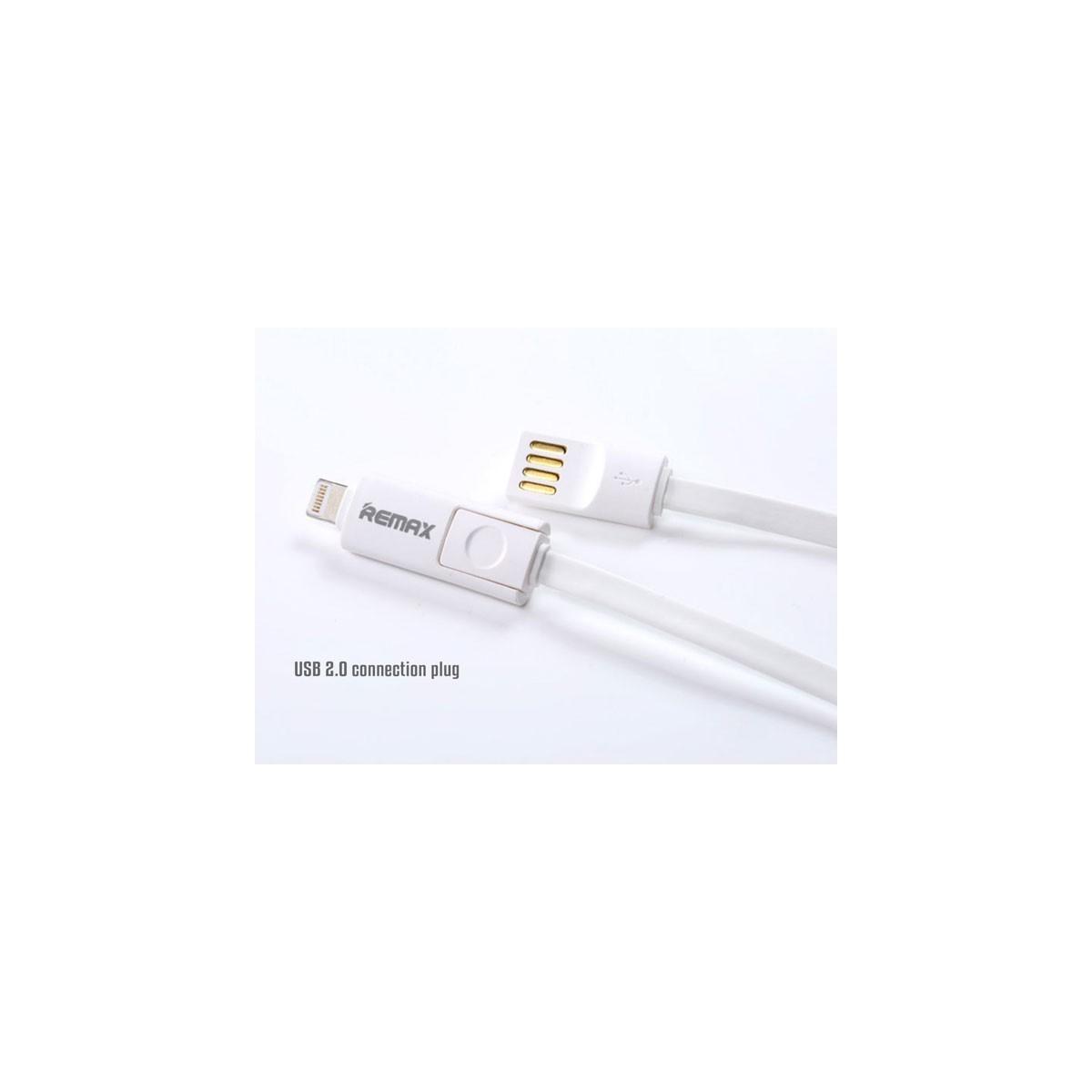 REMAX datový kabel 2 v 1 , Micro USB + lighting iPhon 5/6 1,2 m dlouhý, bílá barva Univerzal (AA-1043)