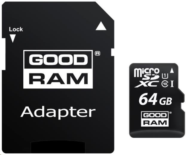 GOODRAM Micro SDXC card 64GB, Class 10, UHS-I + SD adapter (M1AA-0640R11)