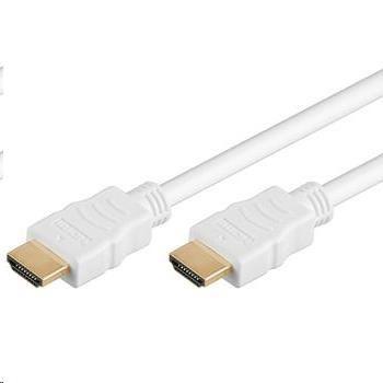 PremiumCord HDMI High Speed + Ethernet kabel,bílý, zlacené konektory, 15m (kphdme15w)