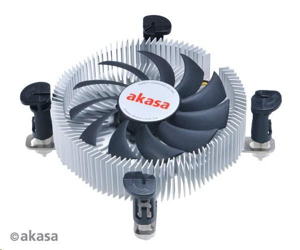 AKASA Chladič CPU AK-CC7122EP01 pro Intel LGA 775 a 115x, 75mm PWM ventilátor, pro mini ITX a micro ATX skříně BULK