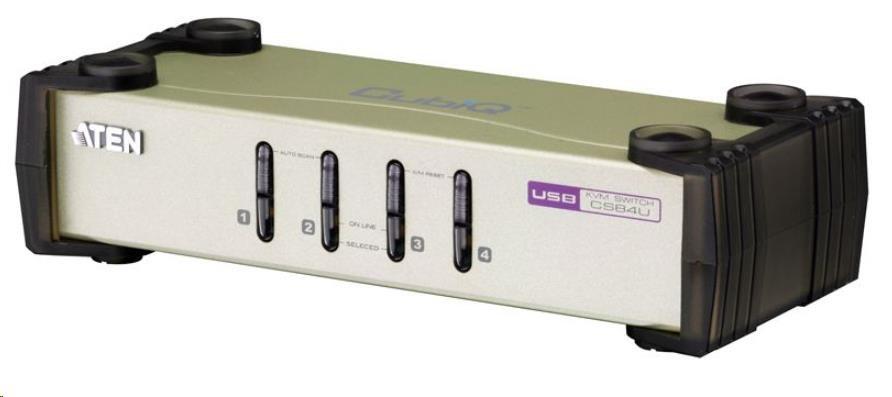 ATEN přepínač 4-port KVM PS/2+USB, kabely (2x1.2m, 2x1.8m)