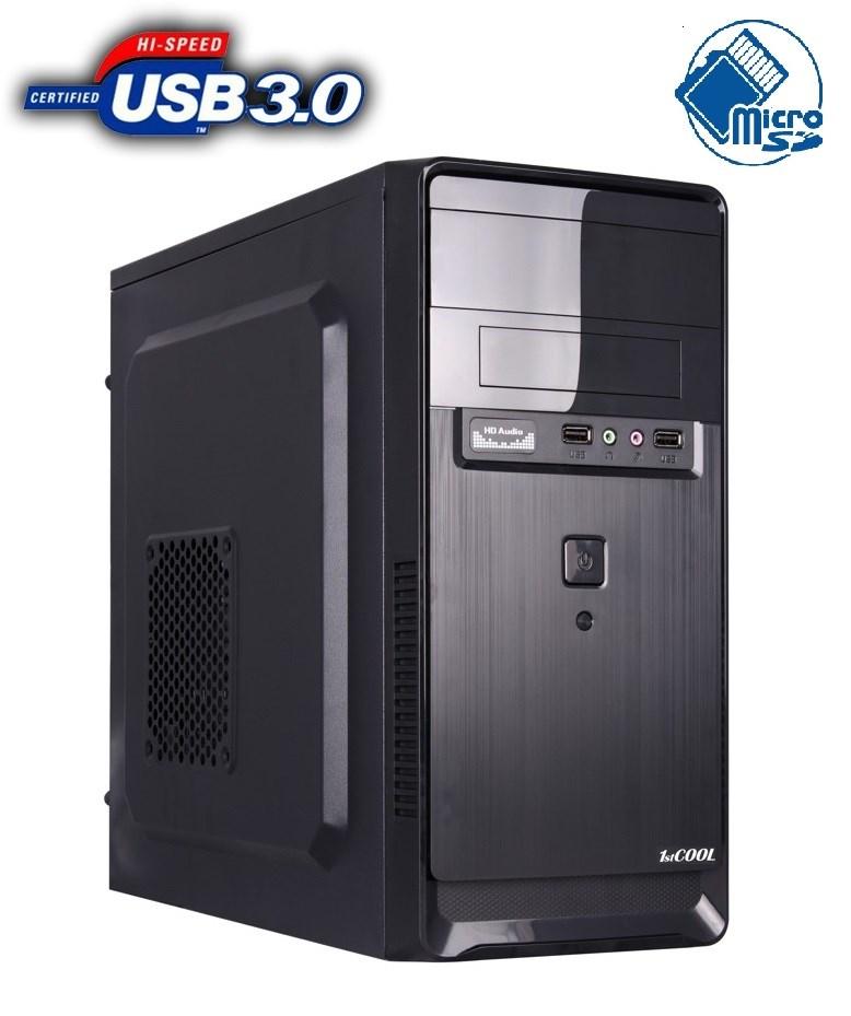 1stCOOL skříň STEP 2, micro ATX, AU, USB 3.0, čtečka karet, bez zdroje, Black