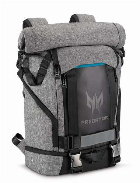 """ACER PREDATOR GAMING ROLLTOP BACKPACK FOR 15"""" NBs GRAY n TEAL BLUE (RETAIL PACK) NP.BAG1A.290"""