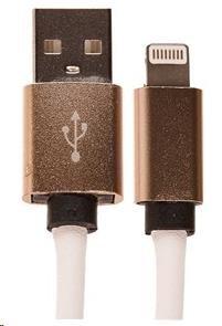 CELLFISH univerzální kabel kožený, Lightning, bílá (CELLLEATWHITEAPP)