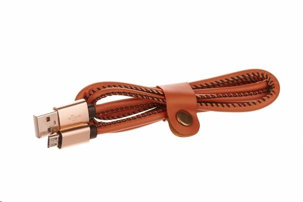 CELLFISH univerzální kabel kožený, micro USB, hnědá (CELLLEATBROWN)