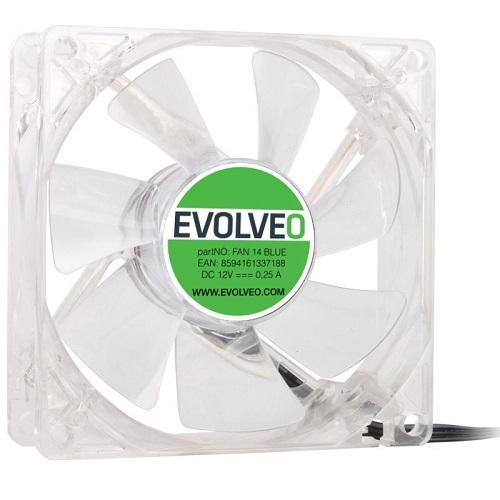 EVOLVEO ventilátor 140mm, LED modrý (FAN 14 BLUE)