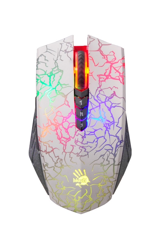 A4tech BLOODY A60 Blazing herní myš, až 4000DPI, V-Track technologie, 160KB paměť, USB, CORE 2, bílá (A60White)