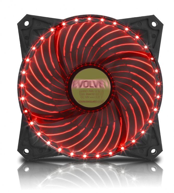 EVOLVEO ventilátor 120mm, LED 33 bodů, červený (FAN12RD33)