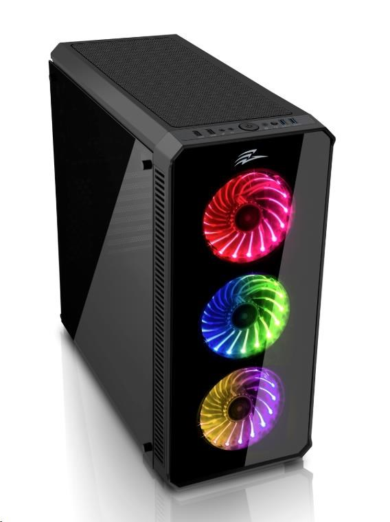 EVOLVEO RAY 5RB, case ATX, 3x RGB rainbow ventilátor