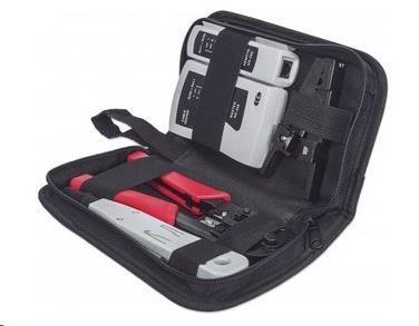 Intellinet 4-Piece Network Tool Kit, sada nářadí: cable tester, krimpovací kleště, LSA narážecí nástroj, stripovač (780070)