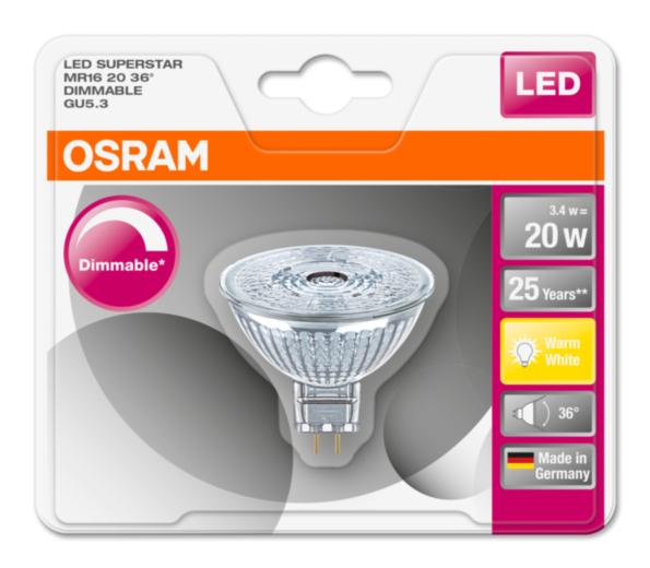 OSRAM LED SUPERSTAR MR16 36° 230V 3,4W 827 GU5.3 DIM A+ Sklo 230lm 2700K 25000h (blistr 1ks)