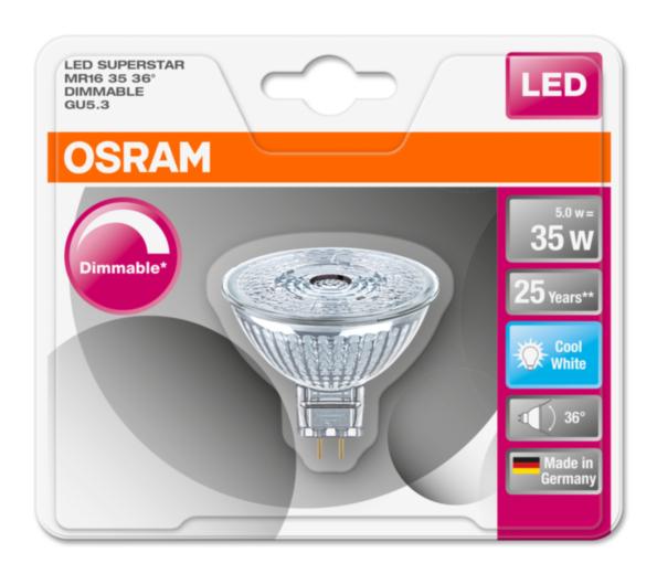 OSRAM LED SUPERSTAR MR16 36° 230V 5W 840 GU5.3 DIM A+ Sklo 350lm 4000K 25000h (blistr 1ks)