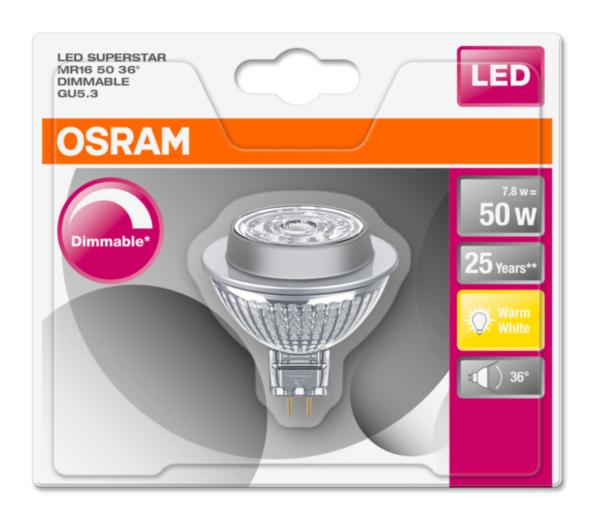 OSRAM LED SUPERSTAR MR16 36° 230V 7,8W 827 GU5.3 DIM A+ Sklo 621lm 2700K 25000h (blistr 1ks)