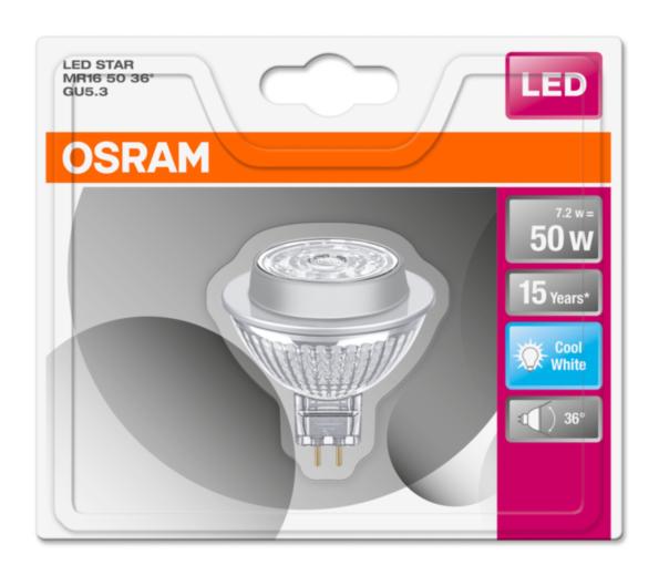 OSRAM LED STAR MR16 36° 230V 7,2W 840 GU5.3 noDIM A+ Sklo 621lm 4000K 15000h (blistr 1ks)