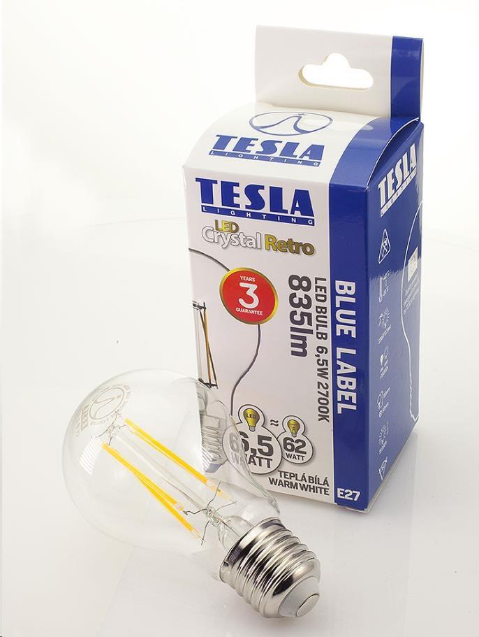 Tesla - LED žárovka CRYSTAL RETRO BULB E27, 6,5W, 230V, 835lm, 25 000h, 2700K teplá bílá, 360°,čirá (BL276527-3)