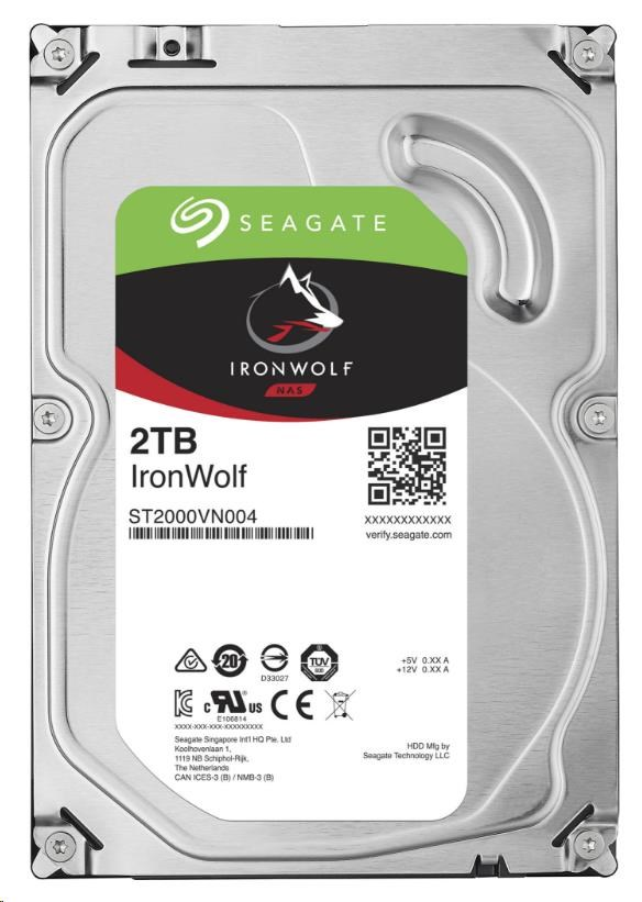 SEAGATE HDD IRONWOLF (NAS) 2TB SATAIII/600, 5900rpm, 64MB cache (ST2000VN004)