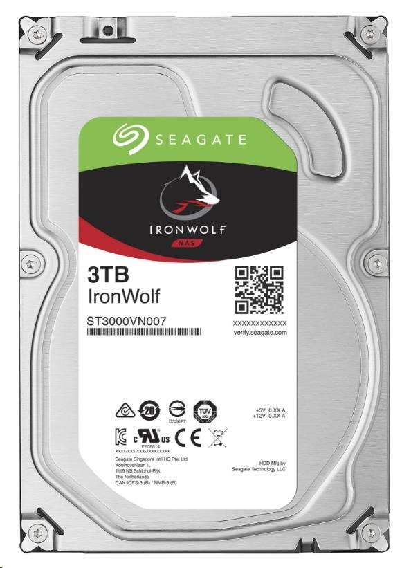 SEAGATE HDD IRONWOLF (NAS) 3TB SATAIII/600, 5900rpm, 64MB cache (ST3000VN007)