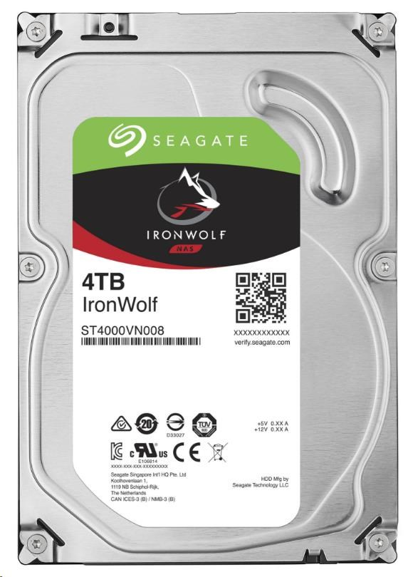 SEAGATE HDD IRONWOLF (NAS) 4TB SATAIII/600, 5900rpm, 64MB cache (ST4000VN008)