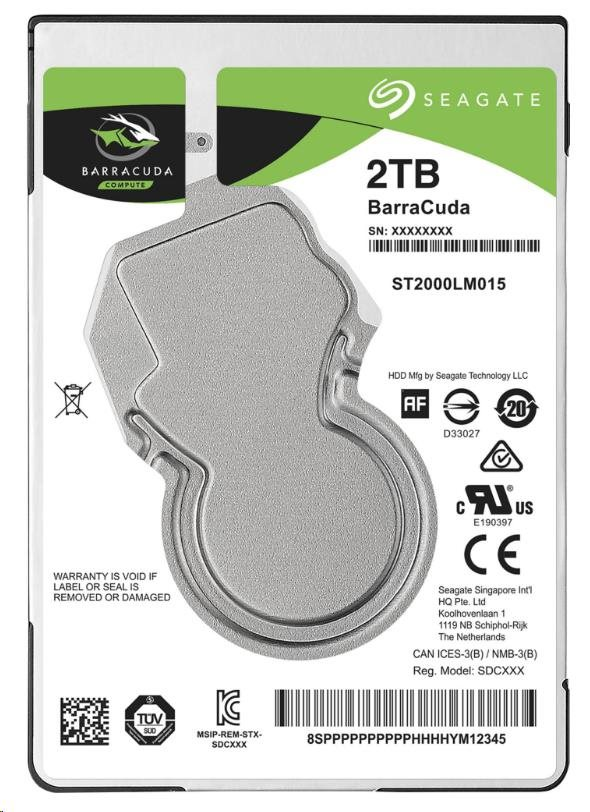 "SEAGATE HDD BARRACUDA 2.5"" 2TB, SATAIII/600 5400RPM, 128MB cache, 7mm (ST2000LM015)"