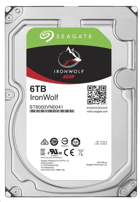 SEAGATE HDD IRONWOLF (NAS) 6TB SATAIII/600, 7200rpm, 128MB cache