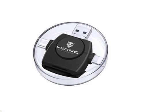 Viking OTG čtečka paměťových karet SD a Micro SD 4v1 s koncovkou APPLE Lightning / Micro USB / USB 3.0 / USB-C, černá
