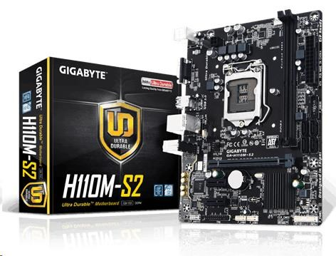 GIGABYTE MB Sc LGA1151 H110M-S2, Intel H110, 2xDDR4, VGA, mATX (GA-H110M-S2)