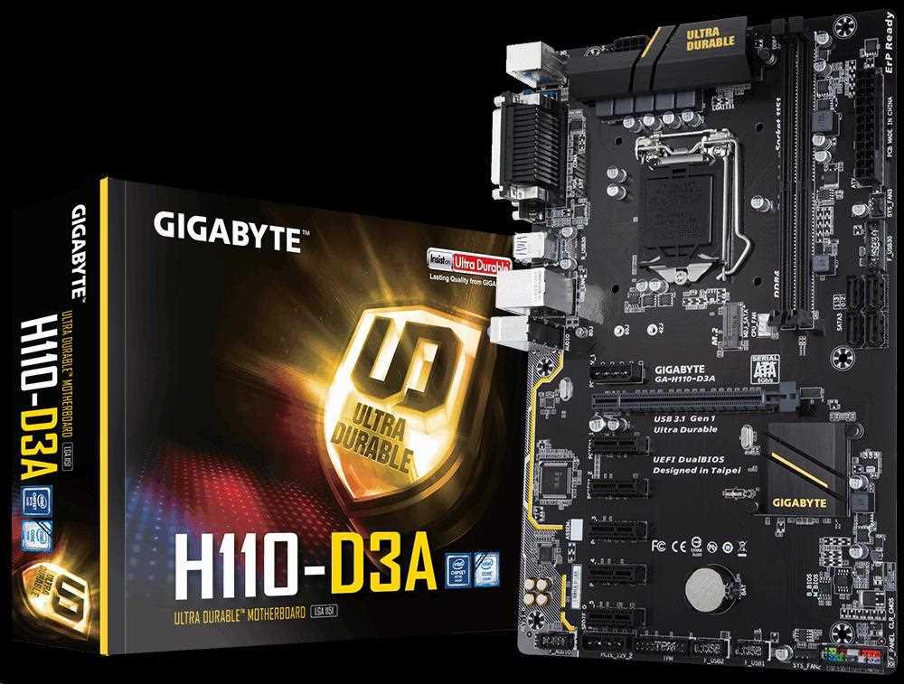GIGABYTE MB Sc LGA1151 H110-D3A, Intel H110, 2xDDR4, VGA, (MINING) (GA-H110-D3A)