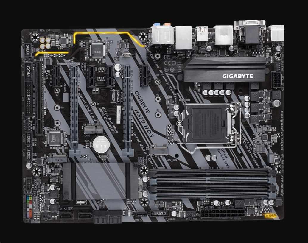 GIGABYTE MB Sc LGA1151 H370 HD3, Intel H370, 4xDDR4, VGA