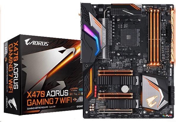 GIGABYTE MB Sc AM4 X470 AORUS GAMING 7 WIFI , AMD X470, 4xDDR4, Wi-Fi