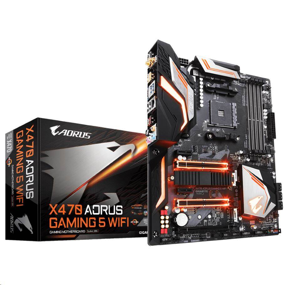 GIGABYTE MB Sc AM4 X470 AORUS GAMING 5 WIFI , AMD X470, 4xDDR4, Wi-Fi