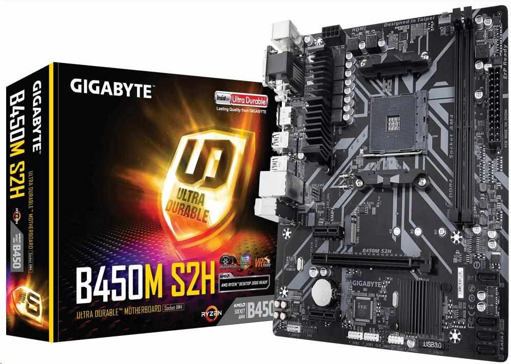 GIGABYTE MB Sc AM4 B450M S2H, AMD B450, 2xDDR4, VGA, mATX