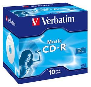 VERBATIM CD-R(10-pack)Audio/Live it!/Colour/Jewel/80Min (43365)