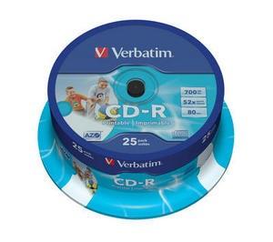 VERBATIM CD-R(25-Pack)Spindle/Printable/52x/700MB/DLP (43439)