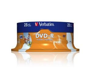 VERBATIM DVD-R(25-Pack)Spindle/Inkjet Printable/16x/4.7GB (43538)