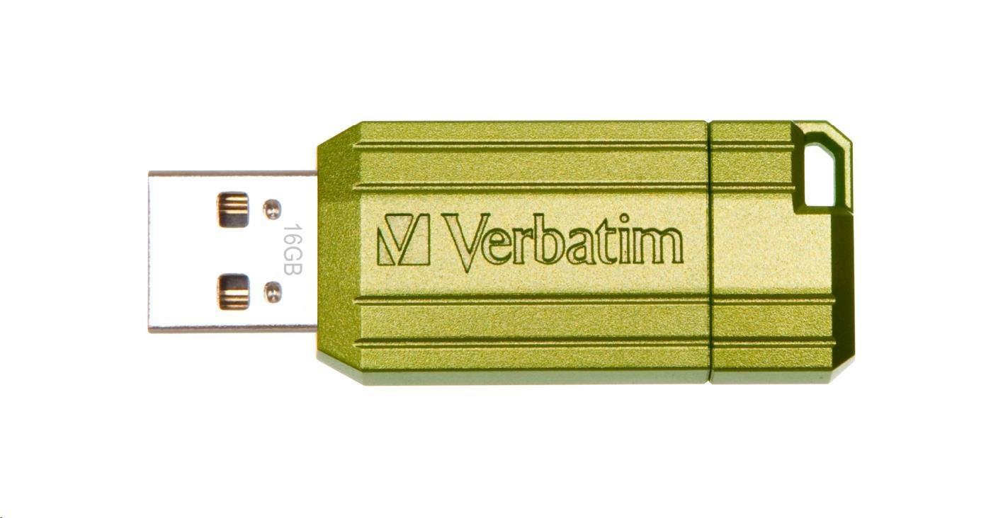 VERBATIM USB Flash Disk Store 'n' Go PinStripe 16GB - eukalyptově zelená (49070)