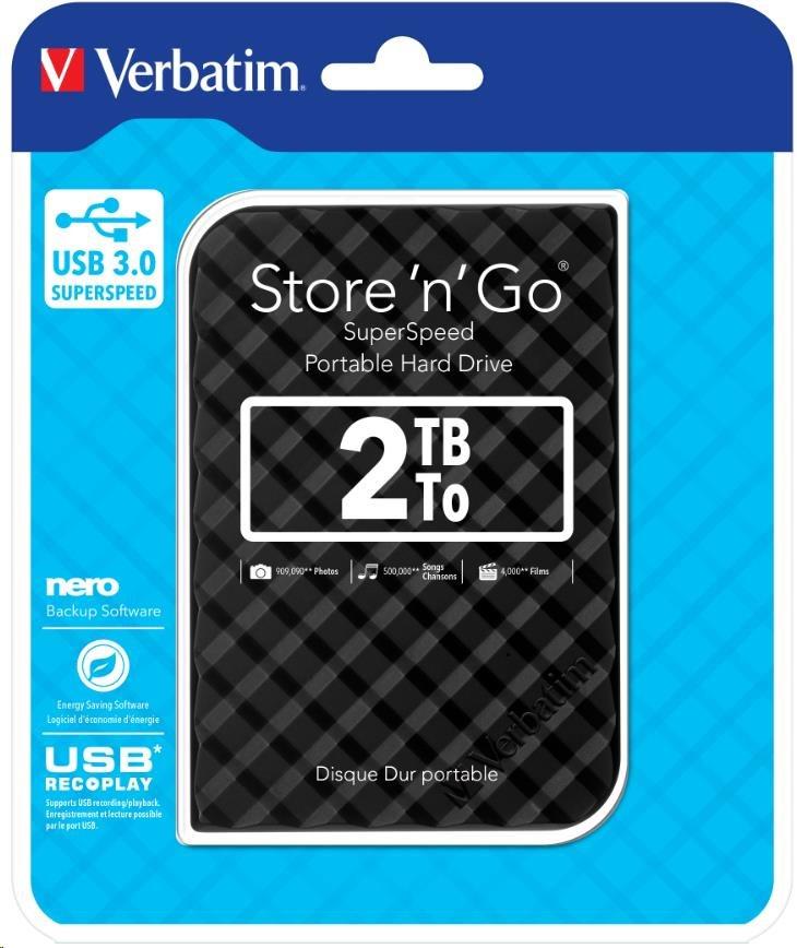 """VERBATIM HDD 2.5"""" 2TB Store 'n' Go Portable Hard Drive USB 3.0, Black GEN II (53195)"""