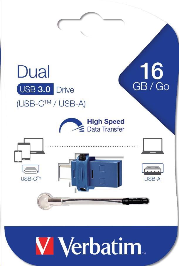 VERBATIM FLASH Store 'n' Go Dual Drive USB 3.0/USB C 16GB blue